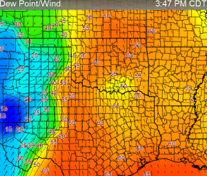 Dew Point/Wind Late on Wednesday Afternoon