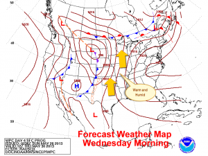 Surface Weather Map Early Wednesday
