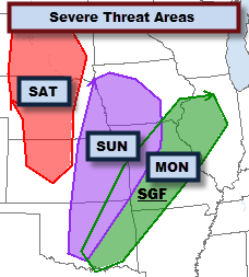 Rough Idea of Severe Storm Areas Saturday - Monday
