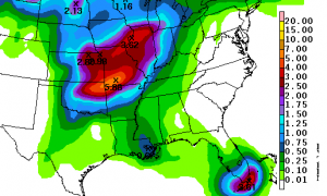 Projected Rain Through Saturday