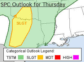 Storm Prediction Center Forecast for Thursday