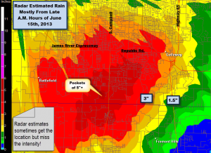 Radar Estimate of Rain Late Saturday Morning, 6/15/2013