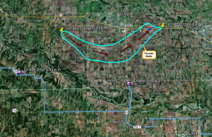Our Chase Path Relative to the El Reno Tornado
