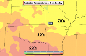 Computer Forecast of Temperatures 1 p.m. Sunday