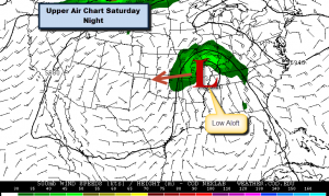 Forecast at 500 mb Saturday Evening