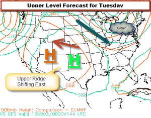Two Computer Model Forecasts for Tuesday
