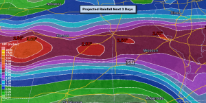 Projected Rainfall from the Weather Prediction Center