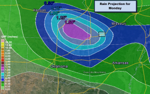Rain Projection for Monday