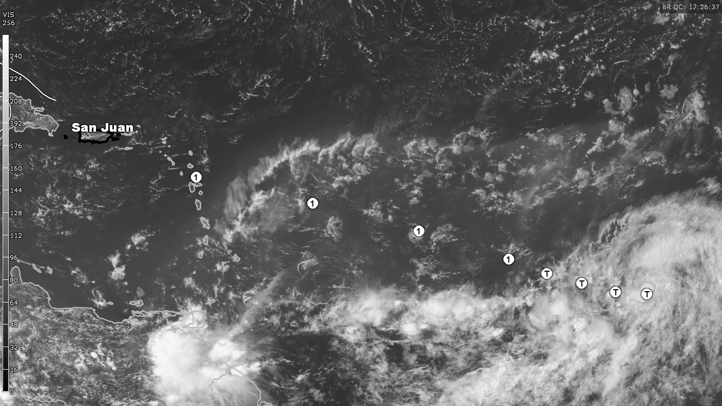 Visible Satellite and NHC Projection mid-day Wednesday 8/19/15